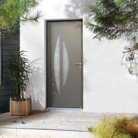 Porte entrée aluminium gris maison moderne vitre forme design