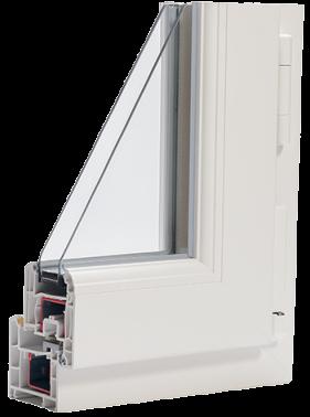 profilé de fenêtre coupe pour présenter intérieur ouvrant et dormant pvc double vitrage