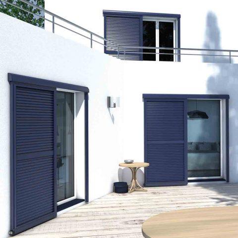 volets coulissants bleu design maison moderne grande qualité